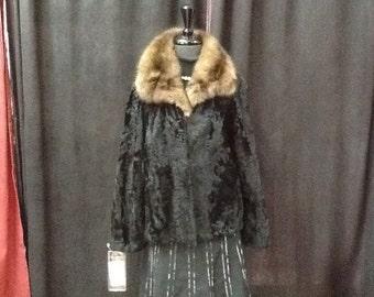 Black broad tail with sable collar bolero jacket