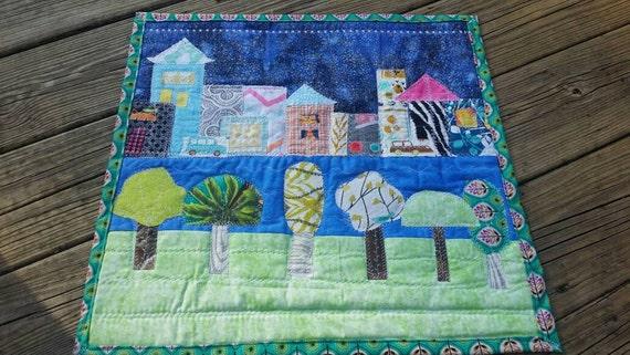 Mini Quilt Cityscape, City Play Mat, Cityscape art, Quilted Cityscape, Cityscape Wall Hanging, Quilted Play Mat, Childrens room decor
