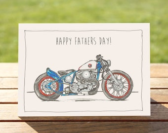 "Motorcycle Father's Day Card Harley Davidson Bobber | A6 - 6"" x 4""  / 103mm x 147mm  