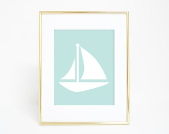 Mint Printable Art, Sail Boat Wall Art, Mint Print, Sailboat Print, Nautical Decor, Coastal Prints, Nautical Print, Instant Download