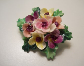 Vintage Crown Staffordshire Bone China Brooch/Made in England/Floral Pin