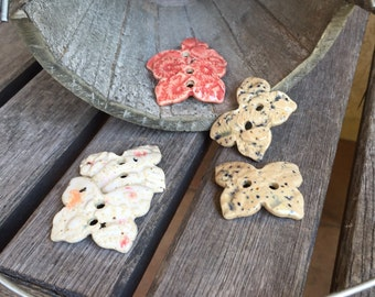 Set of 2 Small Ceramic Butterfly Buttons | Lace Imprinted Stoneware buttons, Set of two | Collectible Buttons | Ceramic Button Accent