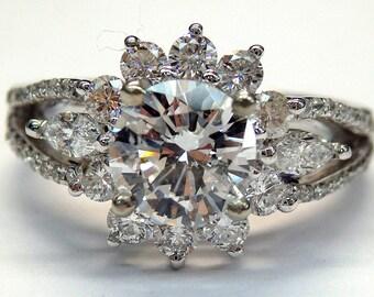 14k White Gold Round Diamond 2.25 ct Engagement Ring (GAI Certificate) # 262158732571
