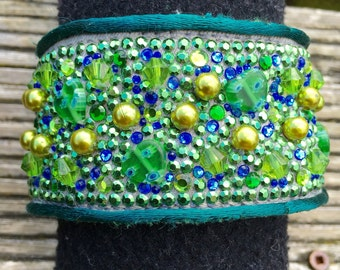 Hand made recycled green demin cuff