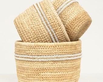 NYEUPE: White Beaded Duom Palm Leaf Baskets