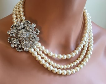 Pearl Necklace with Brooch wedding necklace and Earrings Set made using 3 strands Swarovski Pearls in Cream Ivory White or choice of color