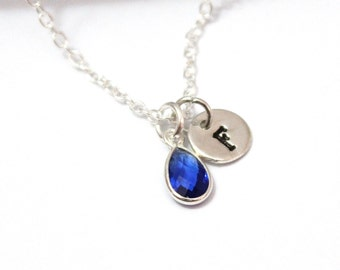 Sapphire Necklace Personalized Birthstone, Sterling Silver, Sapphire Birthstone, September Birthstone, Initial Jewelry, Bridesmaid Gift