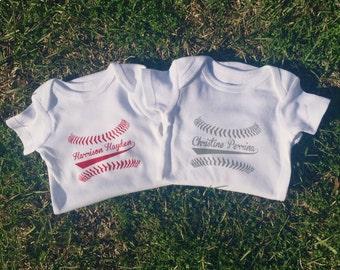 Custom Designed / Personalized Baseball Name Baby Short-Sleeve Onsie / Deeper Waters