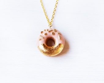 Elfi Handmade Gold and Pink Sprinkle Doughnut Necklace, Donut, Perfect for Christmas gifts, Elegant, Kawaii, Donut Charm, Wedding Gift