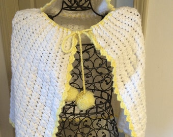 Hand Crocheted Baby Cape with Hood