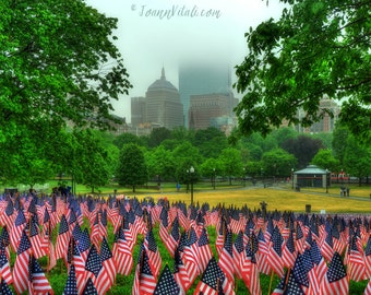 Boston Photography, Garden of Flags on Boston Common, Memorial Day Art, Military, Boston Art, Boston Prints, Boston Public Garden, US Flags