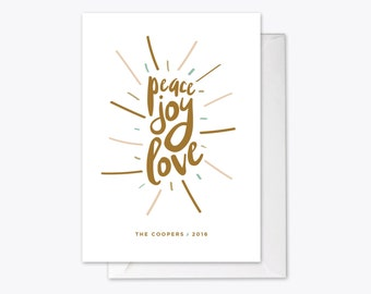 Peace Joy Love Holiday Card printable