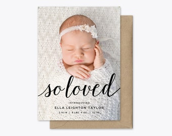 So Loved Photo Baby Announcement Printable