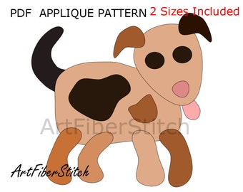 Doggy PDF Applique Template Pattern - available for instant download from ArtFiberStitch
