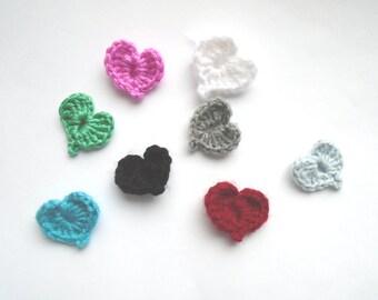 Set of 8 Hearts, Appliques, crochet hearts, multicolored heart, hearts embellishment, red crochet heart, Applique hearts, handmade hearts