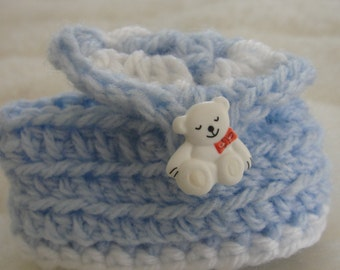 """Handmade Crochet Baby Booties in blue and white color. Super soft. Fits 3"""" sole."""