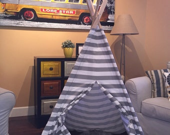 Gray and white striped kids teepee play tent