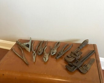 Vintage Tools - Group of Tools - Old Pliers - Old Wrenches - Tool Collection - Industrial Decor
