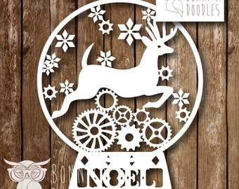 Alternative Steampunk Snow Globe Christmas Papercut template Personal