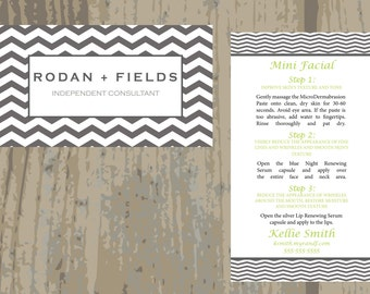 Rodan + Fields Mini Facial Cards Double Sided Business Card PRINTED CARDS ONLY