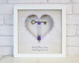 Personalised Lilac Vintage Key Wedding/Anniversary Box Frame