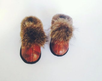 Children slippers, leather handmade slippers