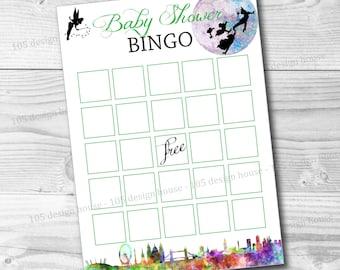 INSTANT DOWNLOAD Peter Pan Baby Shower Bingo Game Printable - Peter Pan Bingo - Peter Pan Baby Shower Bingo - Peter Pan Printable