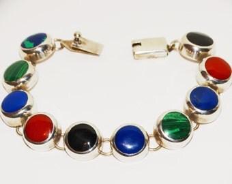 """Vintage 925 Sterling Gorgeous Genuine Natural Multicolor Stone 7.5"""" Bracelet"""