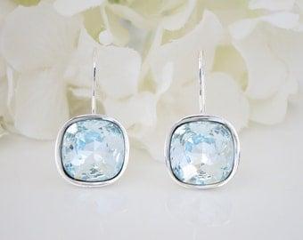 Pale blue cushion cut wedding earring, Swarovski azore bridal earring, Bridesmaid earring