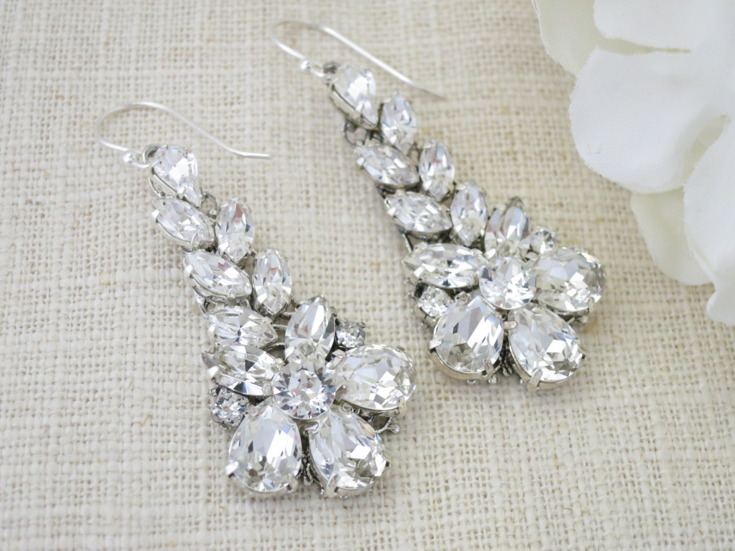 Crystal wedding earring, Swarovski rhinestone chandelier statement earring, Art Deco bridal earring