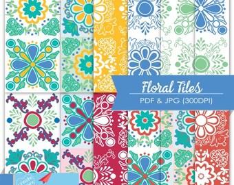 Floral Tiles Digital Paper, PDF JPG Image, Flower Background, Ornaments Tile Paper, Talavera Scrapbook, Wedding Printable Paper, Blue  P76