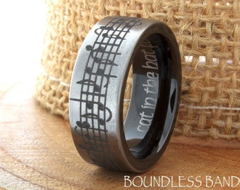 Music Wedding Ring Tungsten Wedding Band Your Wedding Song Ring 7mm 9mm Black Anniversary Ring Promise Ring Custom Laser Engraved Ring Set