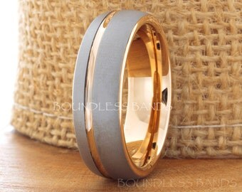 Tungsten Ring Rose Gold Wedding Band Ring Tungsten Carbide 7mm 18K Tungsten Ring Man Wedding Band Male Women Anniversary Matching Ring Dome
