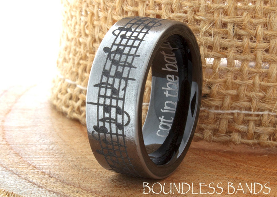 Music Wedding Ring Tungsten Wedding Band Your By