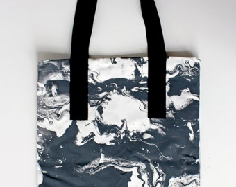 Cotton canvas marble printed tote bag