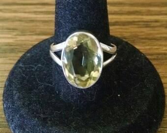 Lemon Citrine Ring 6 cts .925 Sterling Silver