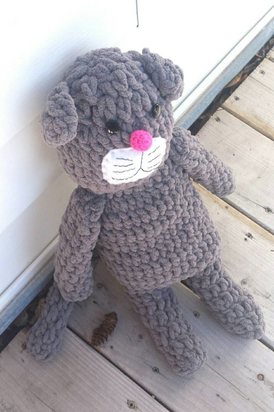 Stuffed crochet cat toy plush cat toy photo prop by for How to crochet cat toys