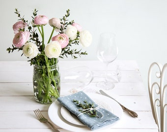 Linen napkins set of 12 - Stone washed linen napkin - Blue polka dot napkins - Dinner napkins - Easter table decor