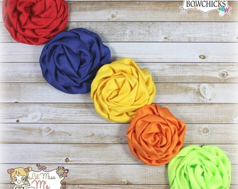 Rainbow rolled rose hair bows