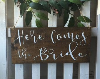 Here comes the Bride sign - flower girl sign - ring bearer sign - rustic wedding signage - Here comes your Bride sign - custom wood sign