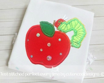 Hungry caterpillar applique embroidery design in 8 formats Instant download 4x4 and 5x7  hoop