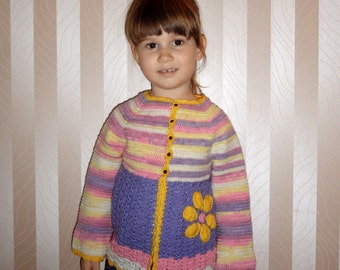 Toddler girl sweater Crochet girl sweater Girl cardigan Baby girl sweater Crochet baby jumper Child cardigan Girl knit sweater Girl knitwear