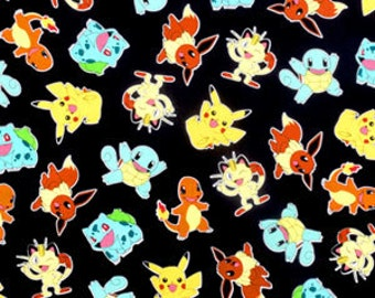 Pokemon Fabric, Pikachu on Black Kaufman fabric, AOP-15114-190 Jet Black / Yardage / Pokemon by the Yard / Robert Kaufman