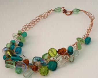Crocheted Wire & Recycled Glass Necklace