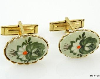 Vintage 1960s Cufflinks Floral Green Orange