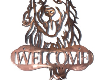Golden Retriever Dog Welcome Sign - CAN BE CUSTOMIZED!