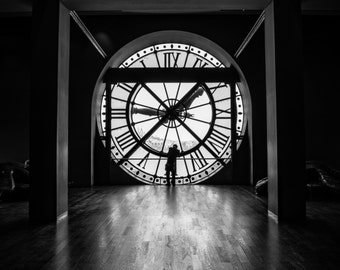 "Paris Photography, Black and White, Man at Clock, Clock, Museum D'Orsay, Musee D'orsay, Sillhouette, Sunlight, Window, ""Man at Clock"""