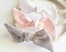 Nylon headband set {Ella} baby bows, infant headbands, hair clips