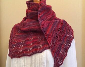 Hand knit shawl, shawlette, scarf, wine, burgundy, merino wool