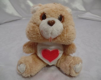 """Original Care Bears Mini Stuffed Plush by Kenner- American Greetings-Those Characters from Cleveland-1983-6"""" Tenderheart Bear"""